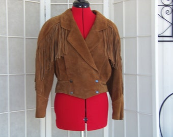 Vintage 1980's Brown Leather Fringed Jacket