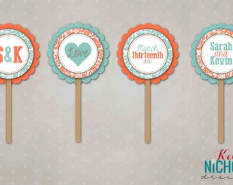 Floral Bridal Shower Cupcake Toppers, Wedding Shower Decorations #S108