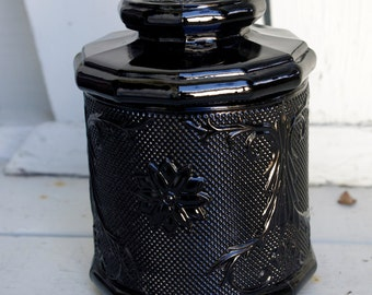 Black Amethyst Tiara Glass Canister Jar with Lid Sandwich Pattern