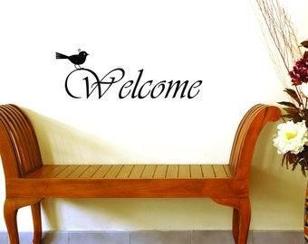 Front Door Welcome Sign Bird Entryway Wall Decal -Vinyl Wall Decal- Welcome Home, Welcome Wall Decal, Door Decor, Vinyl Decal Sticker