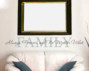 """Wall Decal Living Room Decor Family Wall Decal Wall Art """"Family: Always Forever No Matter What"""" Vinyl Lettering Family Sign Vinyl Decal"""