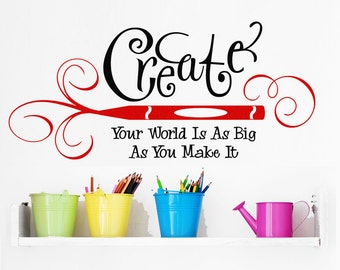 """Vinyl Wall Decal """"CreateYour World """" for Art Studio, Scrapbooking, Cardmaking, Stamping Craft Rooms Inspirational Wall Sticker"""