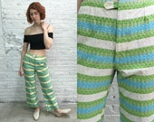 1960s pants mod stripe flared pants / cropped high waters / green blue white / small medium