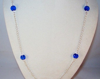 Celestial Crystal Coins Necklace - Sapphire
