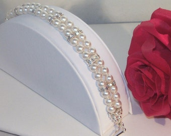 Swarovski Pearl & Crystal Jewelry - Shown with White Pearls  - Any Color - SHIPS WITHIN 24 Hrs