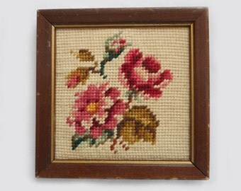 Vintage Needlepoint Rose Picture Lovely Pink Rose in Bloom Small Wall Decor Shabby Cottage 6 X 6 Hand Embroidered Finished Picture in Frame