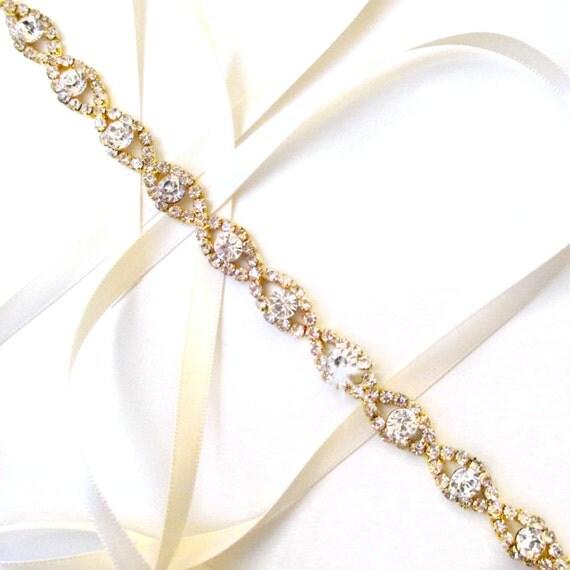 Lush Rhinestone Ribbon Bridal Headband In Gold White Or
