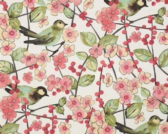 Bird Shower Curtain, Spring Blossom Fabric Shower Curtain, Pink Kiwi Shower Curtain, Bird Bathroom Decor, Cottage Chic Decor