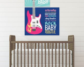 Rock a Bye Baby, Guitar Print, Rock and Roll Nursery, Music Nursery // Set of Two Prints: one 8x10 & one 11x14 // N-X48-2PS AA1 03S