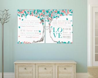 Romantic Custom Lyric Art,Personalized Keepsake, Wedding Vows or Song Prints,Anniversary Gift Idea, Canvas or Art Print Set // W-L09-2PS HH5