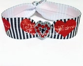 Red Heart Rhinestone Charm Bracelet Hair Tie I Love You Je T'Aime Te Quiero Ti Amo Print Stripe Elastic Knotted Ponytail Holder Black White
