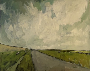 "Holland Lane | Original Oil Painting | Dutch Painting | 16"" x 20"""