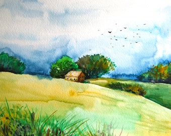 "Watercolor Landscape Painting, Original Art, Storm, 9""x12"""