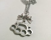 Knuckle Duster and Bow Necklace - Silver Tone