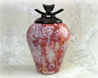Saggar Fired Lidded Jar or Cremation Urn - Oriental Style