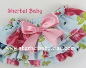 Shabby Chic Blue Rose Floral Print Classic Style Sassy Pants Ruffle Diaper Cover
