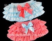 TWINS - 2 Pair Colors in Coral & Aqua Ruffled Bloomers