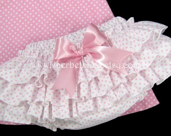 Classic Style Pink Polka Dots Sassy Pants Bloomers Ruffle Diaper Cover