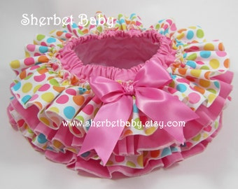 Bubble Gum Pink & Polka Dot All Around 4 Ruffled Diaper Cover Bloomer Skirt  Baby Toddler Girl