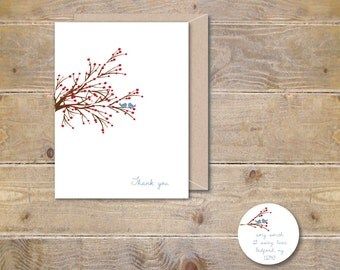 Christmas Thank You Cards, Thank You Card Set, Thank You Notes, WinterBerry, Birds, Recycled Card Set, Bluebirds, Stationery, Stationary Set