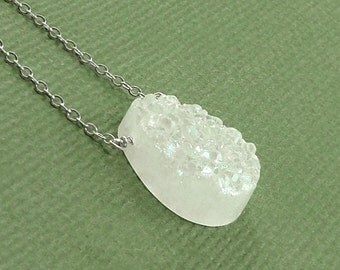 Snow White Druzy Teardrop Necklace Sterling Silver or 14K Gold