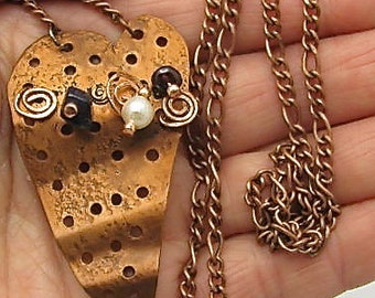 Copper Heart Pendant. Stud Earring Display. Copper Heart Pendant/Necklace.Tube necklace.