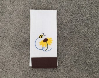 BEE and BLOOM Machine Embroidered White/Brown Mini Waffle Weave Towel