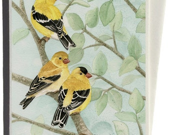 Goldfinches in Bird Tree Greeting Card by Tracy Lizotte