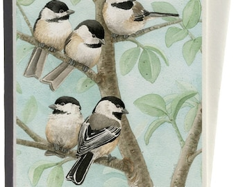 Chickadees in Bird Tree Greeting Card by Tracy Lizotte
