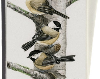 Chickadees in Birch Tree Greeting Card by Tracy Lizotte