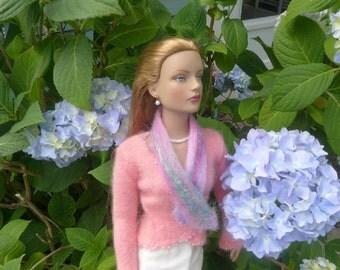 SALE 50 off/ Doll Scarf /Felted Scarf BONUS twirly scarf 2 for 1 for 16 inch /Tonner Tyler Sydney Gene Ellowyne BJD clothes