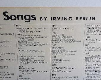 Vintage Irving Berlin Song Listing Sheet 1907-1950 Irving Berlin Music Corp Broadway Popular Songs American