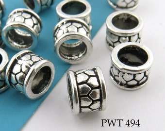 Large Hole Beads Pewter Ring Antique Silver 8mm (PWT 494) 10 pcs BlueEchoBeads
