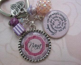 Personalized pink and purple Grandmas, Moms, Sisters, Daughters...Keychain