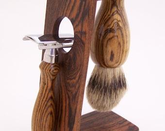 Bocote Wood 22mm Silvertip Badger Shaving Brush, DE Safety Razor Razor and Stand Shaving Set (Handmade in USA)  B20