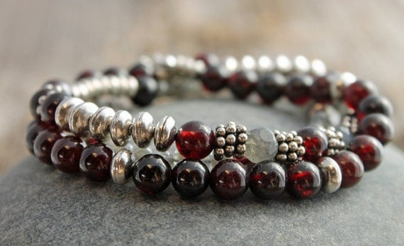 Spiral River Designs - garnet with labradorite and bali style silver, wrap bracelet & necklace