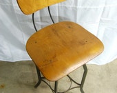 Vintage Industrial UHL Steel Furniture Toledo Drafting Stool with Back