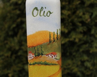 Hand Painted Tuscan olive oil bottle