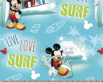 Disney Mickey Live Love Surf Cotton Woven by the yard