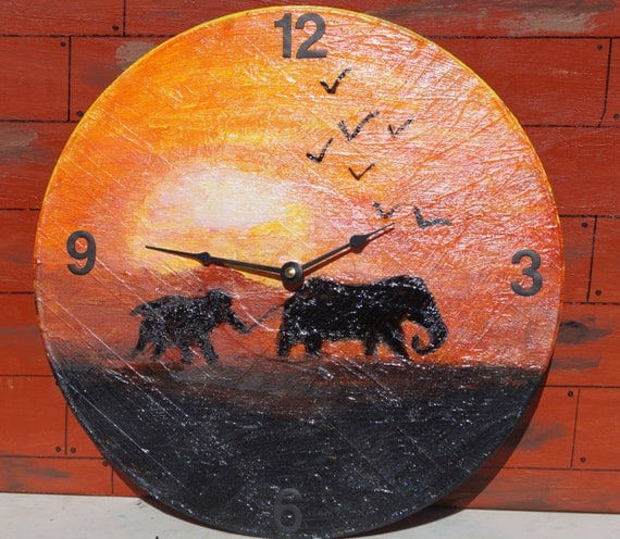 Baby elephant unique wall clock best sellers unusual wall for Best brand of paint for kitchen cabinets with nursery wall art etsy