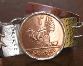 Special order sterling silver bracelet with an authentic copper Irish coin with a hen & chicks as the focal point