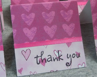 Lots of Pink Hearts Mini Thank You Cards 2x2 (6)