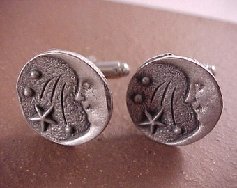 SALE Pewter Smiling Moon Clothing Button Cuff Links - Free Shipping to USA