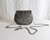 Silver Metal Filigree Purse Evening Bag Chain Strap Turquoise Glass Stone Center