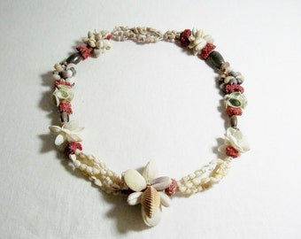 Exquisite Sea Shell Garland Lei Necklace Coral Shells
