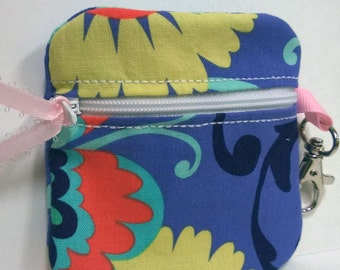 Inhaler/Mouthguard Blue and Yellow Soft Zipper Pouch, roller derby, asthma, sports