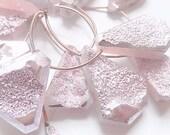 Druzy Gemstone Briolette.  Druzy Gemstone Briolette. Pink Druzy, Top Drilled Drop, 26-33mm. Semi Precious Gemstone. One Drop. (55dz3).
