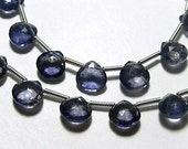 Iolite Gemstone Bead, Semi Precious Gemstone. Faceted Iolite Heart Briolette. AAA 7mm. Strands, Pairs or Non Matching Briolettes  (1iol)