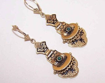 VICTORIAN REVIVAL 14K Gold, Taille D'Epergne Enamel & Turquoise Drop Earrings