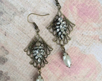 Romantic Brass Earrings with Rhinestone Cluster and Pearl Drop